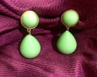 Vintage Signed Trifari Green Earrings