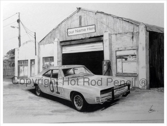 general lee dodge charger customized pencil drawing print. Black Bedroom Furniture Sets. Home Design Ideas