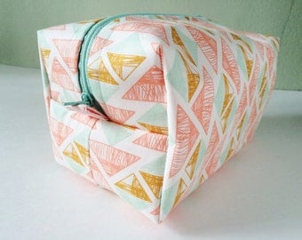 Makeup Bag, Boxy bag, southwest triangles