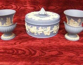Three Pieces of Vintage Wedgwood Blue Jasperware