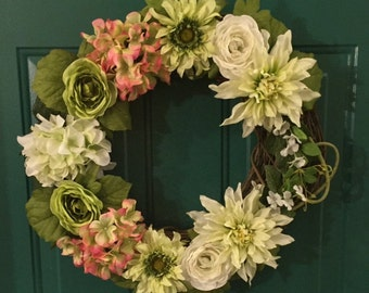 White, Pink and Green Flower Grapevine Wreath