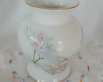 Large Prinknash Pottery White Vase Pink Floral Design Gold Rim