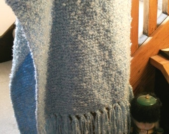 Handmade Knit Blue Sky Prayer Shawl 20 X 60 Inches with Fringes