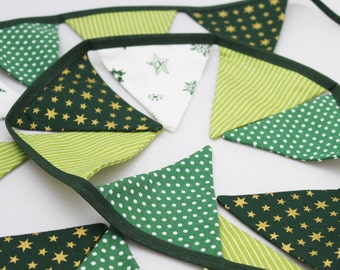 Christmas mini bunting flags, green and white, green gold stars