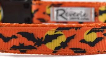 Bat dog collar, halloween dog collar, orange dog collar, moon dog collar, bats dog collar, spooky dog collar, fall dog collar