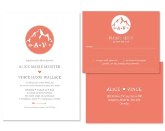 Whimsical Mountain Wedding Invitation Set (priced per 25)