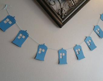 Dr who decorations, dr who banner, tardis buntting, geeky decorations, dr who party decor, geeky apartment decor, dr who dorm room decor,
