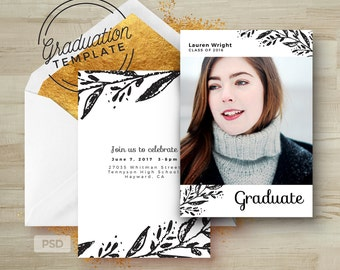 Modern Graduation Invitation Template - Floral Card - Printable Grad Announcement Card - Photoshop Template - Photo Marketing Template