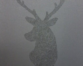 Black on Black Barely There Stag Deer Zentangle A4 Art Print