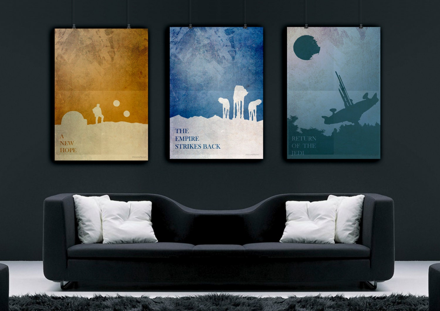 Star wars art star wars poster set star wars print for Minimalist wall decor ideas