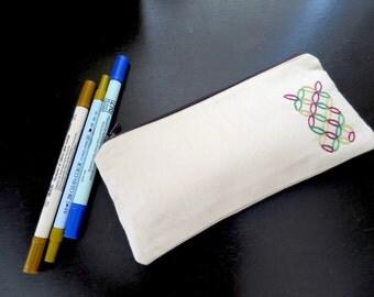 Beige Pencil Case, Fabric Zipper Pouch, Zipper Pouch, Small Cosmetic Bag, Pencil Case, Fabric Pouch, Zippered Pouch, Hand Embroidery Pouch