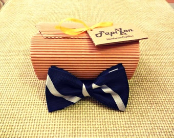 Blue bow tie with white stripes-single pieces