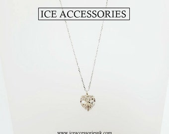 Heart shaped Swarovski pendant. Crystal heart pendant.