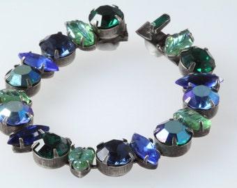 Regency signed Vintage bracelet rhinestone, Regency vintage jewelry, 1950s signed blue bracelet, poured glass vintage, birthday present gift
