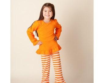 ADD ON Boutique Ruffle Stripe Bottoms Pants/ Boutique Ruffle Pants
