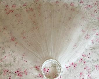 Vintage Wedding Veil - Faux Pearl Crown