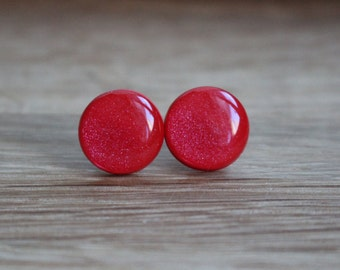 Red Stud Earrings. RED HOT FLARE. red studs. red earrings. surgical steel post.