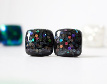 GALAXY GLITTER STUDS. black studs. black earrings. Surgical Steel Posts.