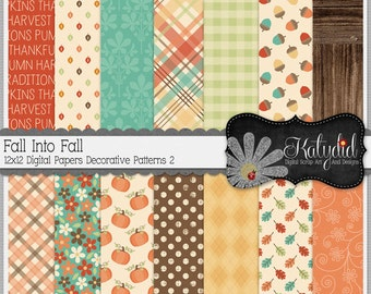 Fall Digital Paper Autumn Fall Into Fall Digital 12x12 Patterns 2 Seasonal Papers and Backgrounds for INSTANT DOWNLOAD