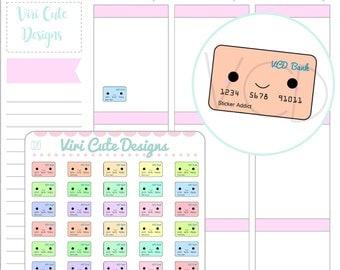 Kawaii Credit Card Planner Stickers, financial stickers, money sticckers, credit card stickers, kawaii planner stickers, stickers |020