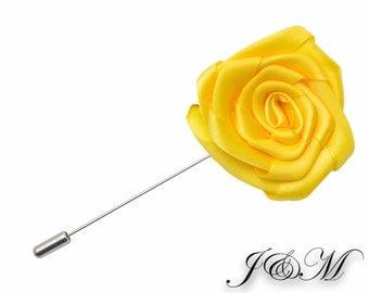 Wedding Boutonniere, Yellow Flower Lapel Pin, Lapel Pin, Lapel Pin, Wedding Lapel Pin, Men Lapel Pin, Lapel Flower, Gift, Men's Lapel