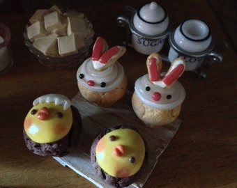 Easter chicks and rabbits in polymer muffins