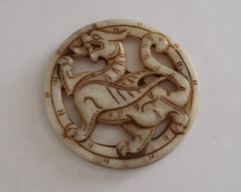 Vintage Chinese Stone Carved Dragon Round Pendant for Cord Necklace