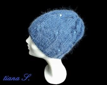 Mohair CAP, jeans blue