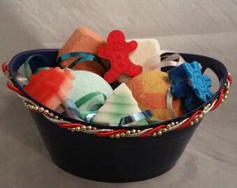 gift basket, bath bombs, sample bath bombs, soap