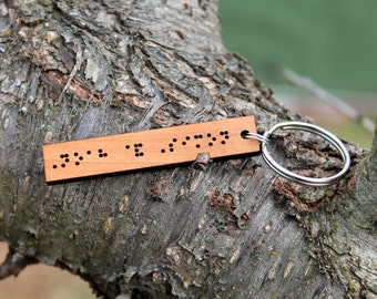Personalized braille wood keychain // custom braille keychain // birthday gift // anniversary gift // mothers day
