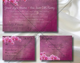 "Wedding Invitation/RSVP/Reception Card ""Fairy Tale Orchid"""
