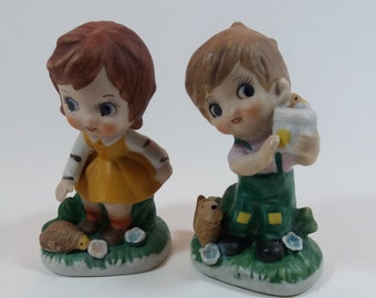 Two Vintage Big Eyed Figurines - Boy and Girl With Pets, Hand Painted Kitsch