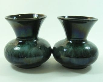 Two Blue Mountain Pottery Posey Vases - Canadian Pottery, Art Pottery, Greeny Glazed Vases