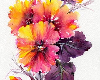 original small painting, abstract watercolor flowers, abstract artwork, abstract painting, floral watercolor, small artwork, abstract arts