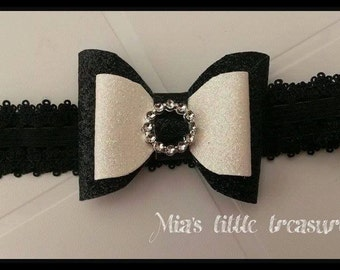 Black, white, glitter, bow, head band
