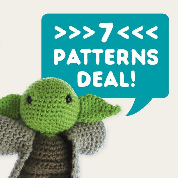 7 Patterns Deal. Special Offer, Discount Price, Set of 7. Amigurumi Pattern, PDF Files Pack, DIY, Crochet, Dolls, Geek, Nerd, Children, Gift