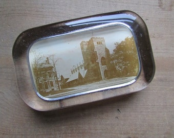 Glass Paperweight Vintage Photograph Paper Weight