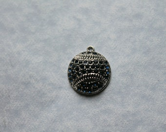 Navy Blue Baseball Crystal Pendant