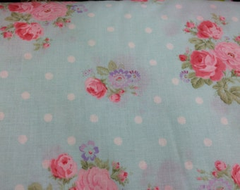 Light blue Shabby Chic style floral fabric, rose fabric, shabby fabric, cottage style, English style fabric, blue fabric