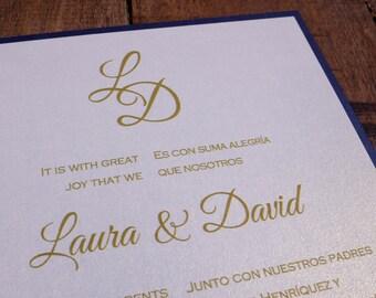 Spanish & English Wedding Invitation, Spanish and English Invitation, Spanish And English Wedding Invitations, Navy Blue And Gold Invitation
