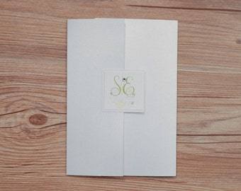 Green Invitations, Green Wedding Invitation, flower Invitations, floral invitation, floral wedding invitation, green invitation, ribbons