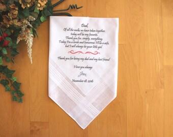 Father of the Bride handkerchief, custom PRINTED wedding handkerchief, Personalized. MS1FPRIS