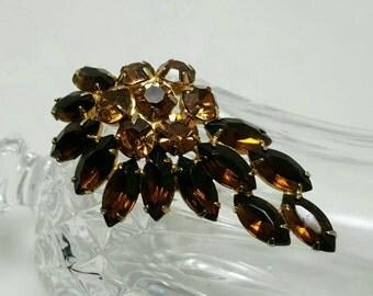 Brown Rhinestone Pin