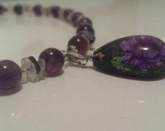 Amethyst and flourite gemstone necklace purple flower pendant