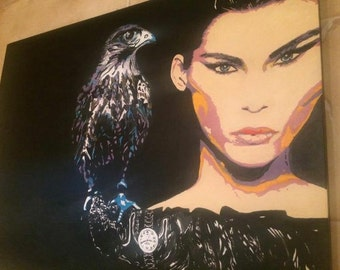 Oil painting  Woman and Eagle 80x60 cm wall decor