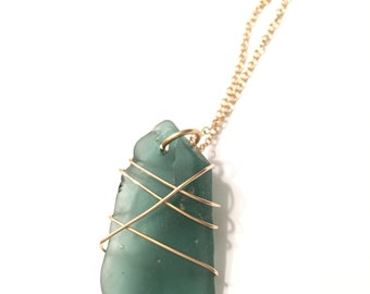 14k Gold Wire Wrapped Beach Glass Pendant