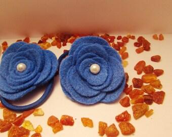 Girl Ponytail/ Blue Ponytail/ Felt Blue Ponytail/ Hair Accessories For Children/ Flower Ponytail Holder