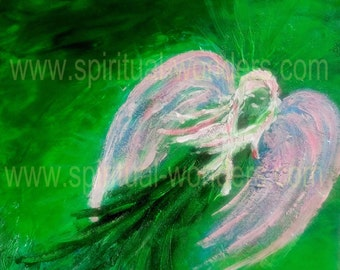 Chakra Angels with Positive Affirmations - I love... Heart Chakra - Artwork: Angel of Healing by Eva Maria Hunt, Print, A6 Card