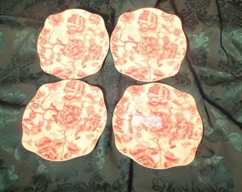 Lot of 4 Johnson Bros. English Chippendale Red/Pink Square Salad Plate 103232