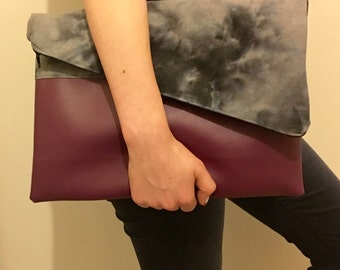 Burgundy Fold over vegan, faux leather,  tie dye clutch handbag